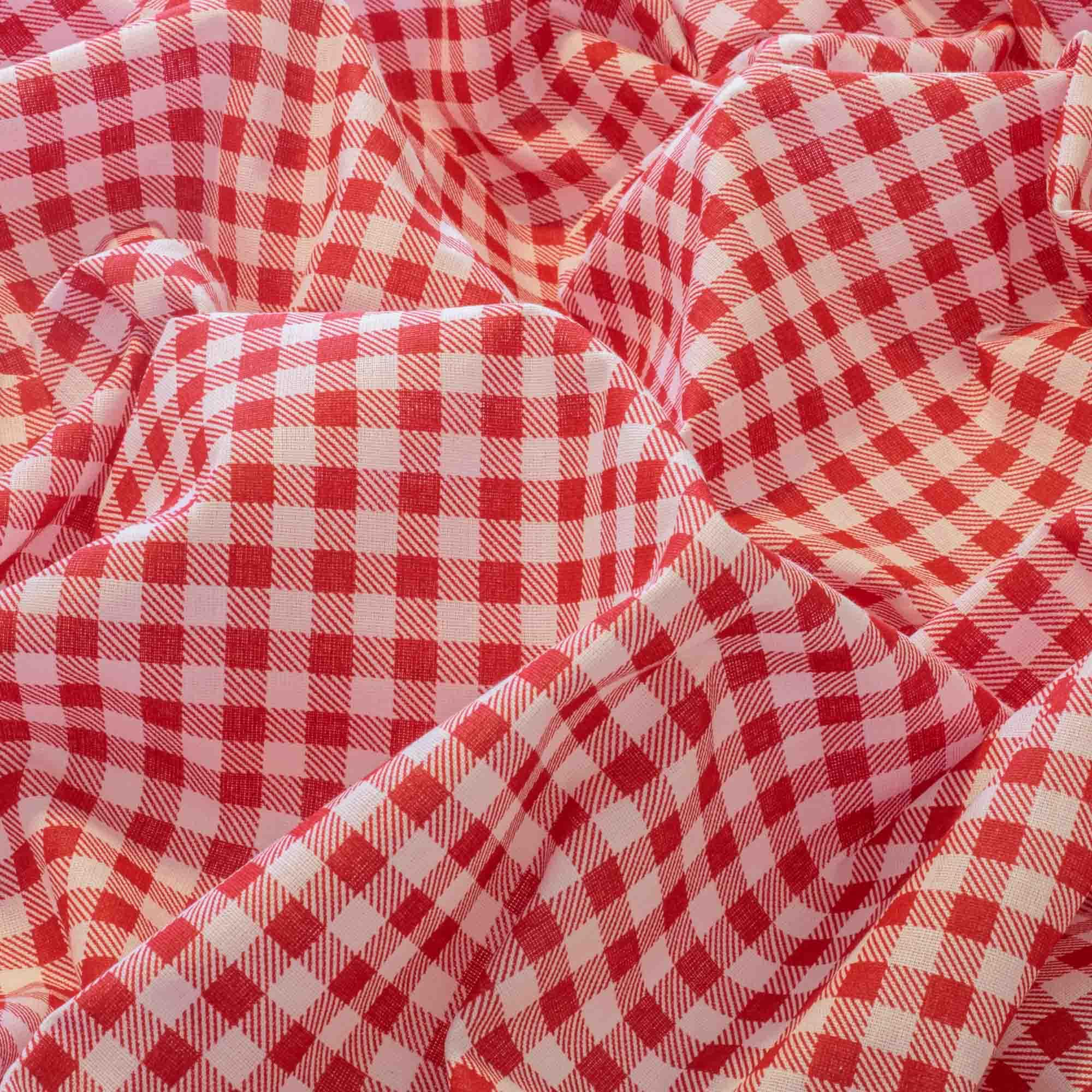 Tecido Tricoline Misto Estampado Xadrez Vermelho Quadrado de 1 cm x 1 cm 1,40 Mt Largura