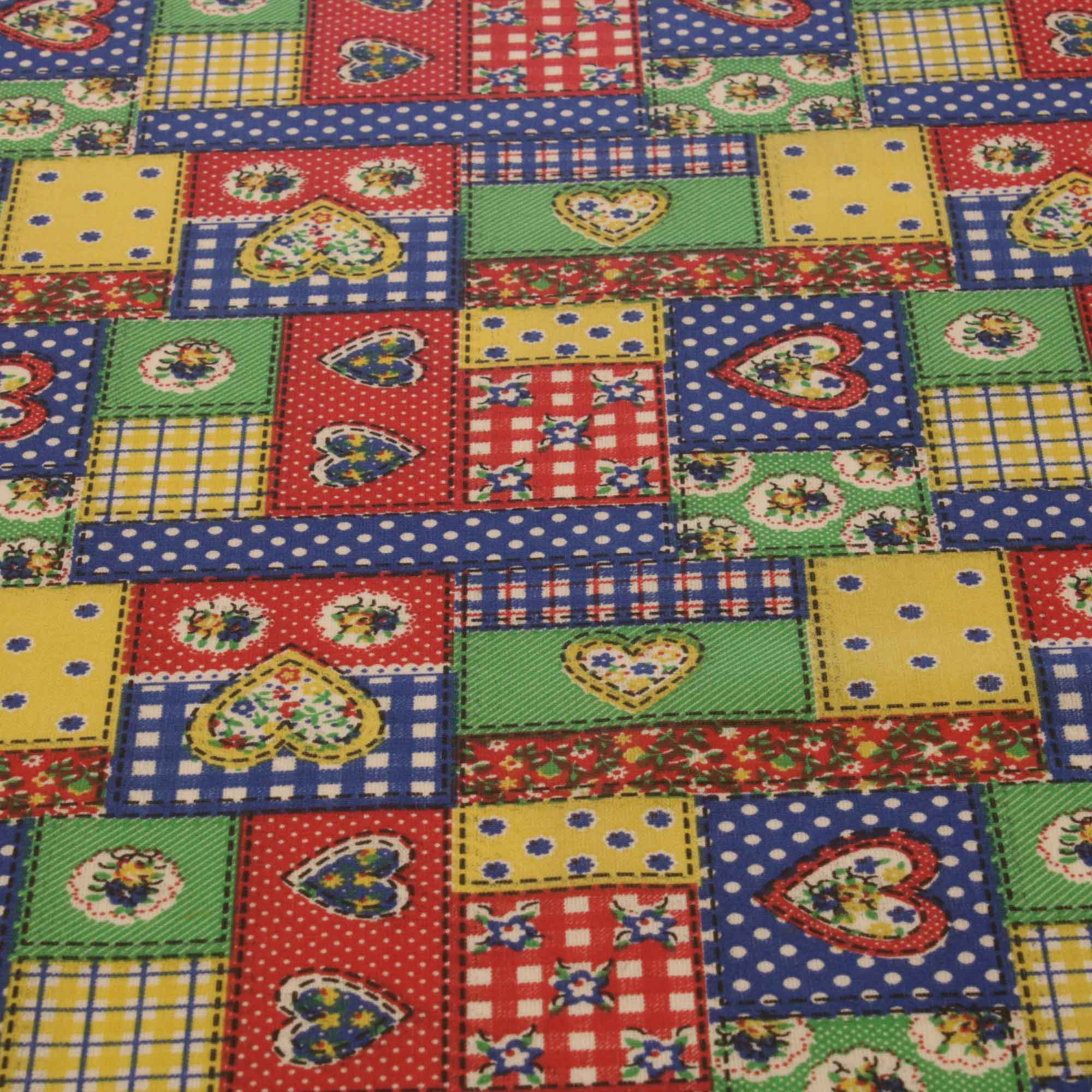 Tecido tricoline patchwork coracao 1,40 m largura azul/cd
