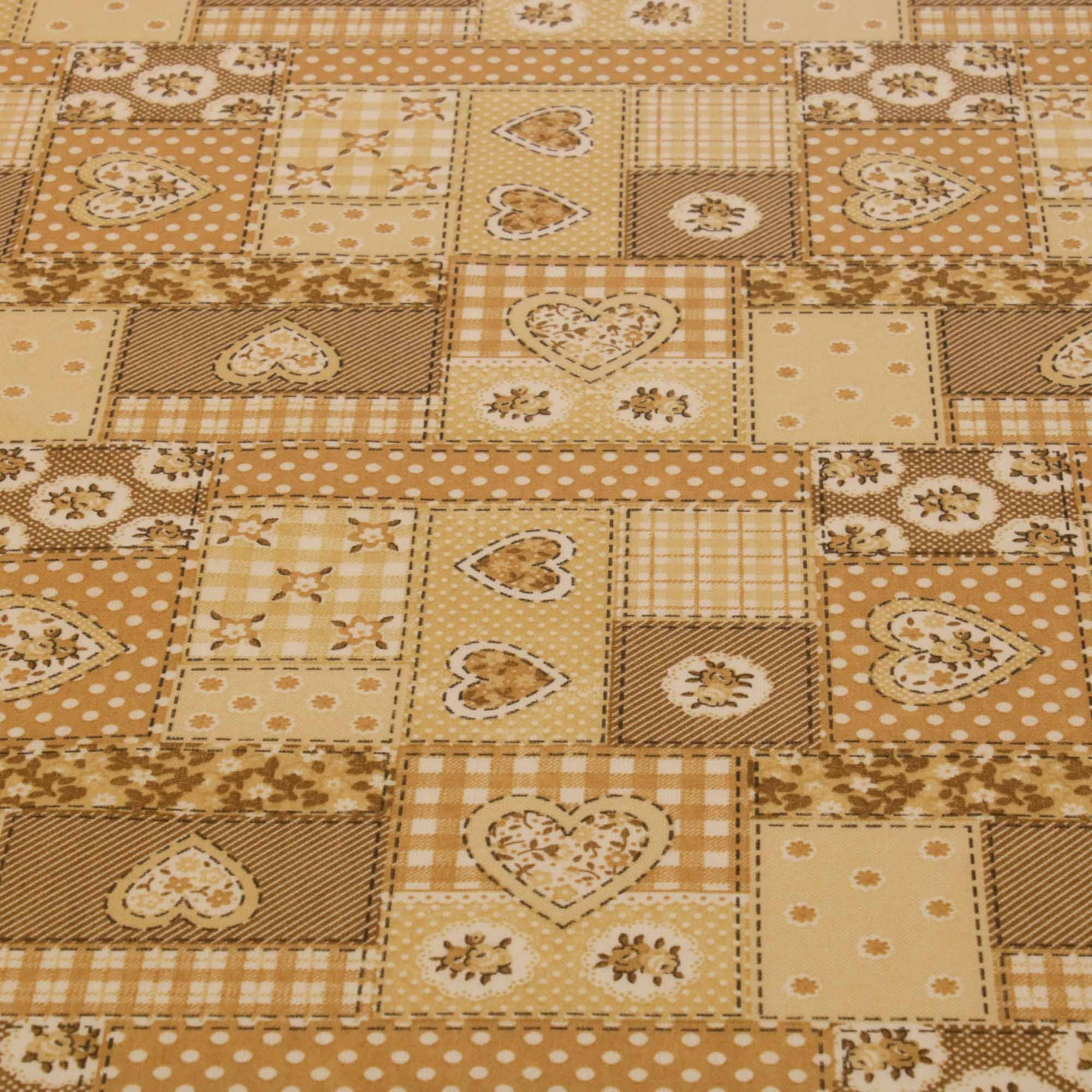 Tecido tricoline patchwork coracao 1,40 m largura bege