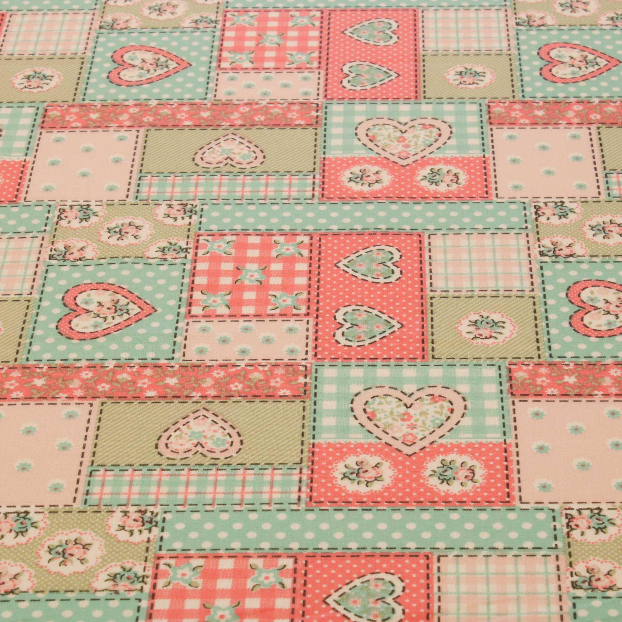 Tecido tricoline patchwork coracao 1,40 m largura rosa/verde