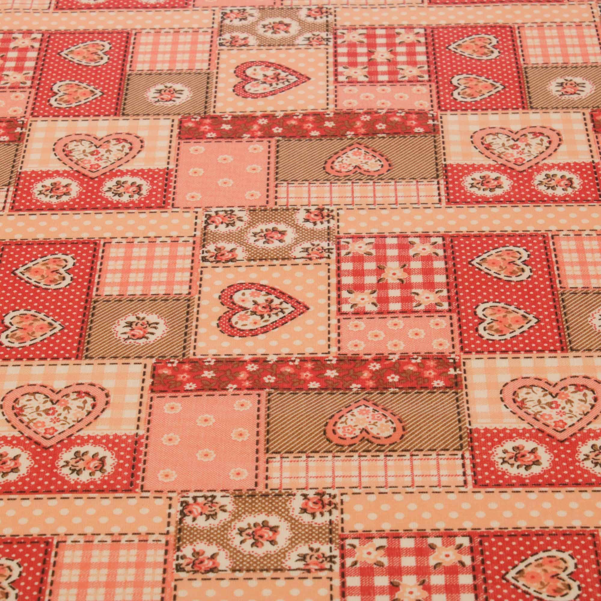 Tecido tricoline patchwork coracao 1,40 m largura vermelho/cd