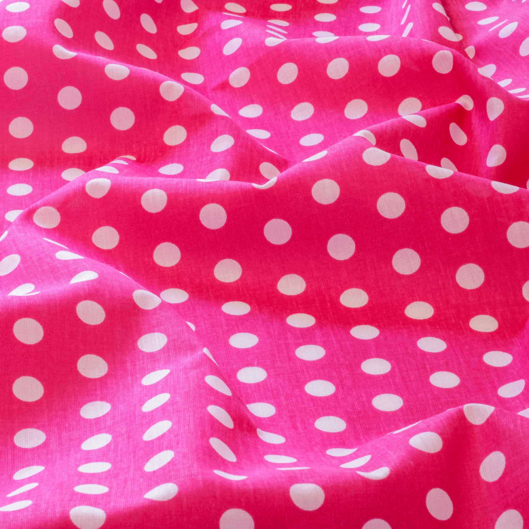 Tecido tricoline poa bolas brancas 1,40 m largura fundo rosa pink
