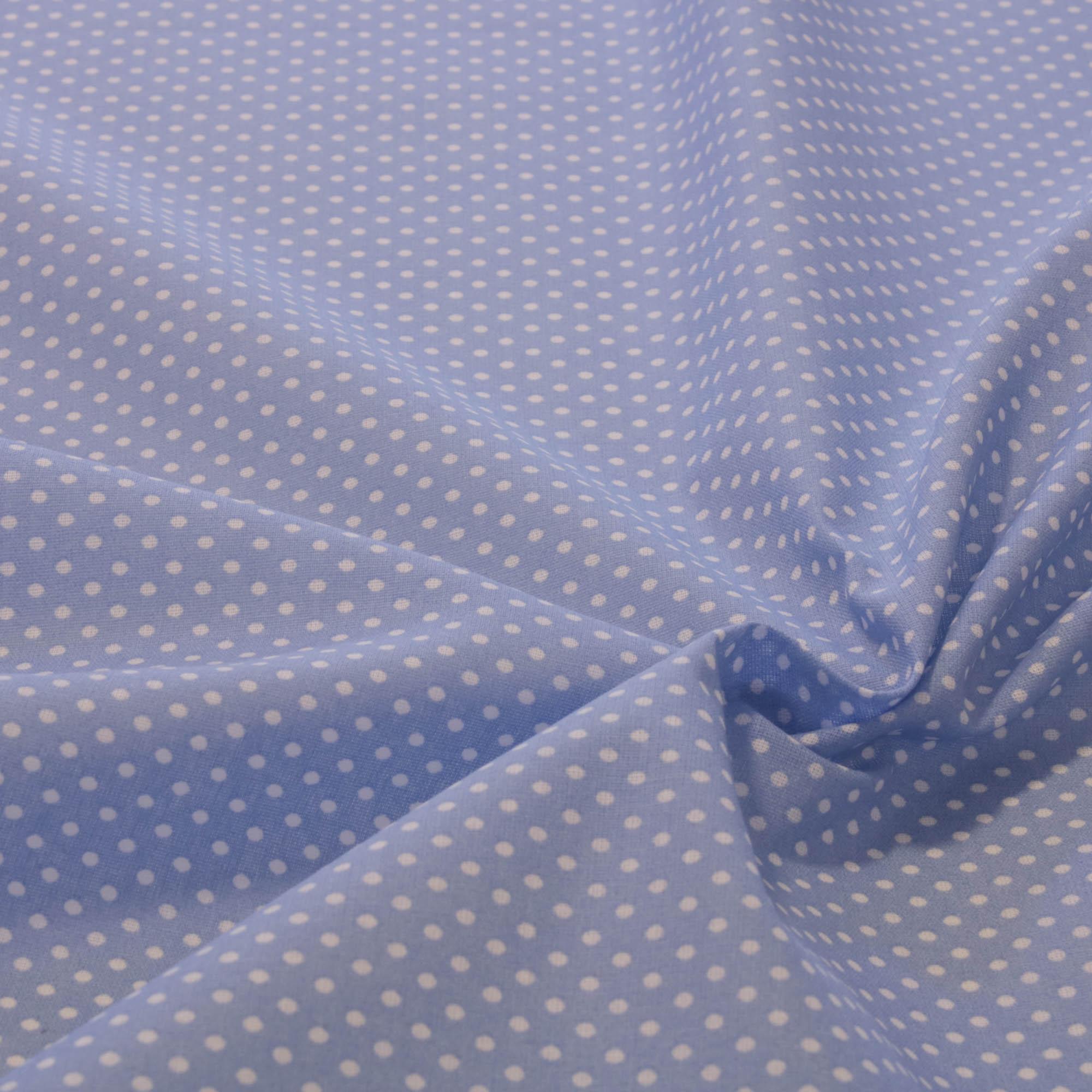 Tecido tricoline poa bolinha 1,40 m largura azul claro