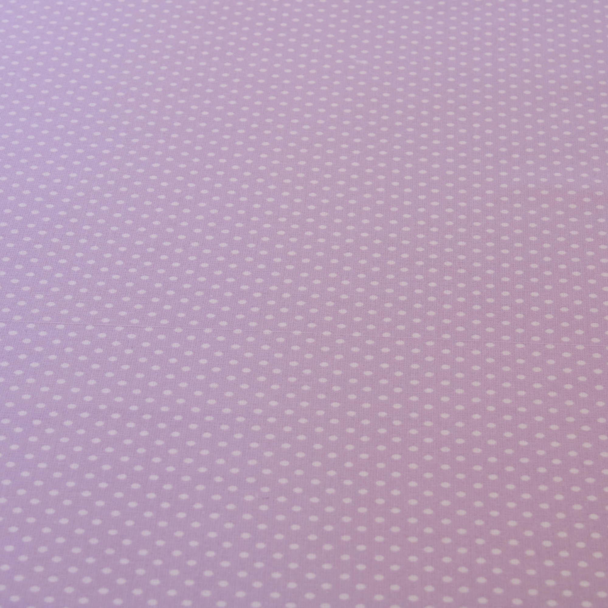 Tecido tricoline poa bolinha 1,40 m largura lilas