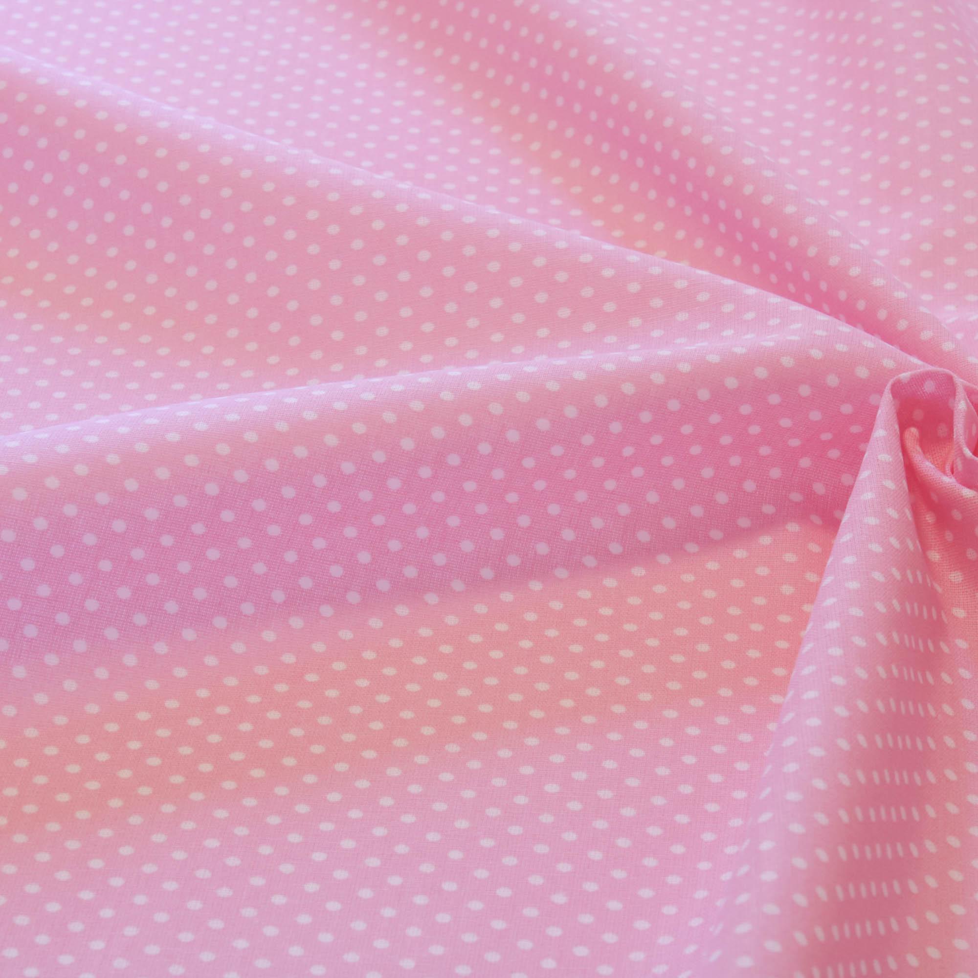 Tecido tricoline poa bolinha 1,40 m largura rosa