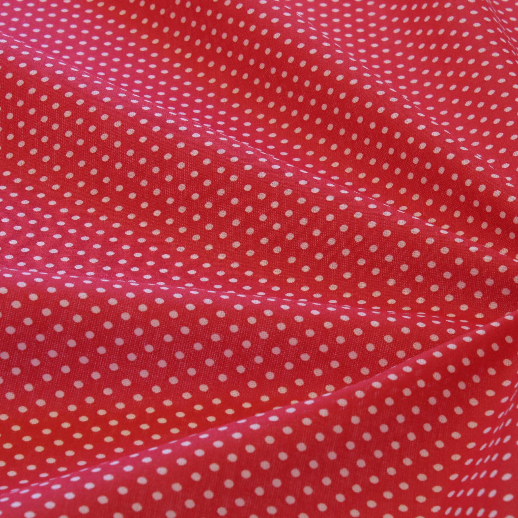 Tecido tricoline poa bolinha 1,40 m largura vermelho