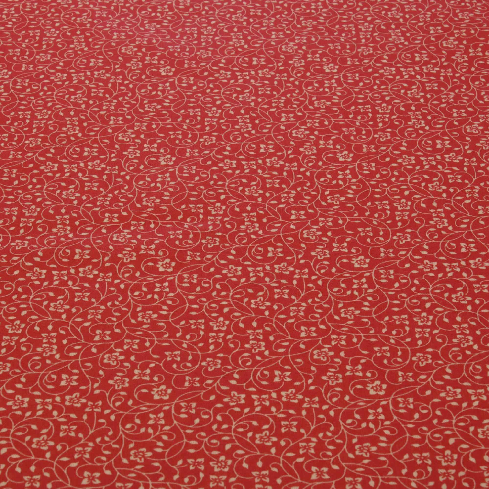 Tecido tricoline ramos flores 1,40 m largura vermelho