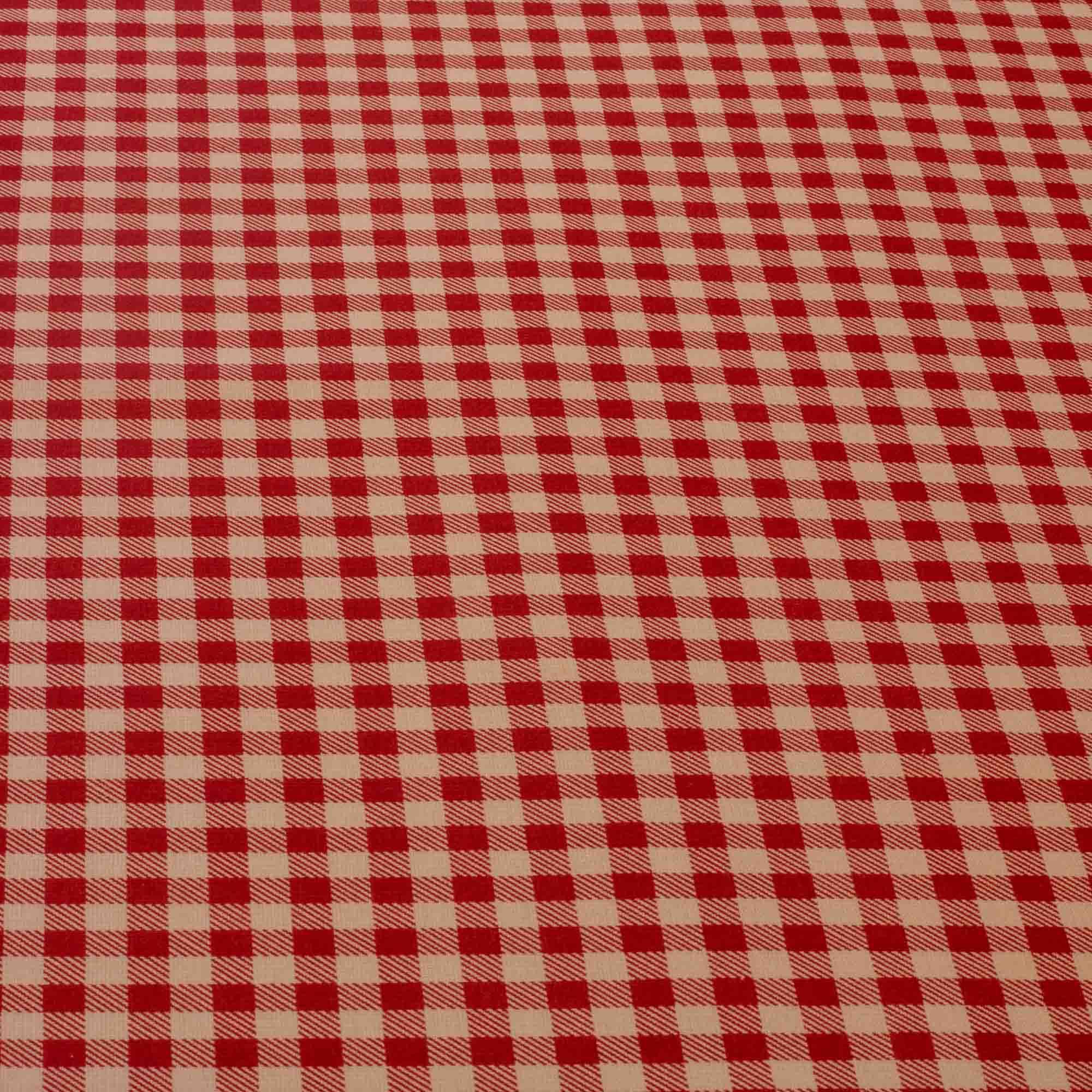 Tecido tricoline xadrez 50% algodão 50% poliéster vermelho