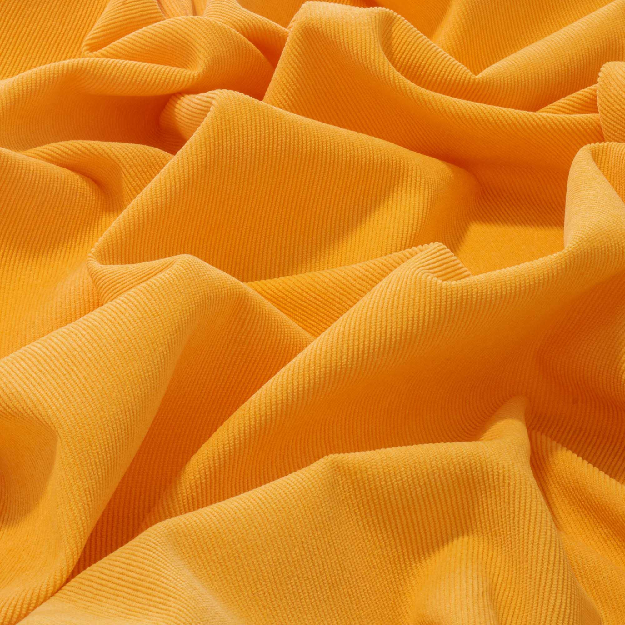 Tecido Veludo Cotele 80% Poliéster 17% Poliamida 3% Elastano 1,40 Mt Largura Amarelo