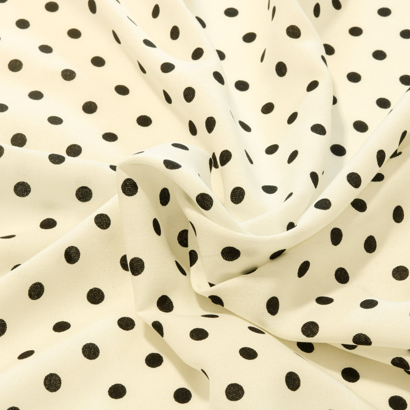 Tecido Viscose Estampada Poa Bolas Preta 100% Viscose Branco