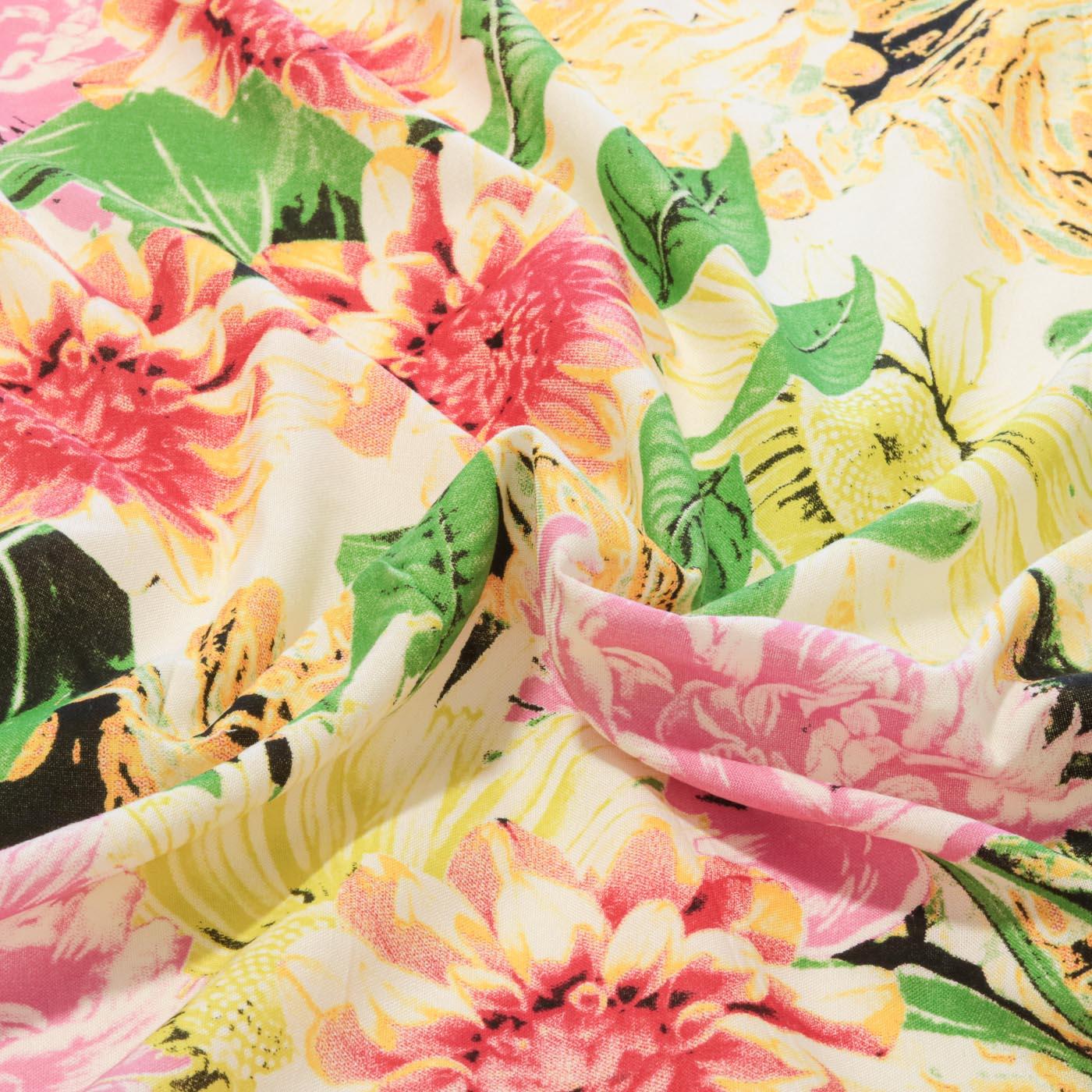 Tecido Viscose Estampado Floral 100% Viscose Creme