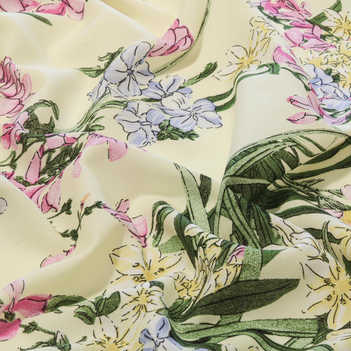 Tecido Viscose Estampado Flores 100% Viscose Amarelo Claro