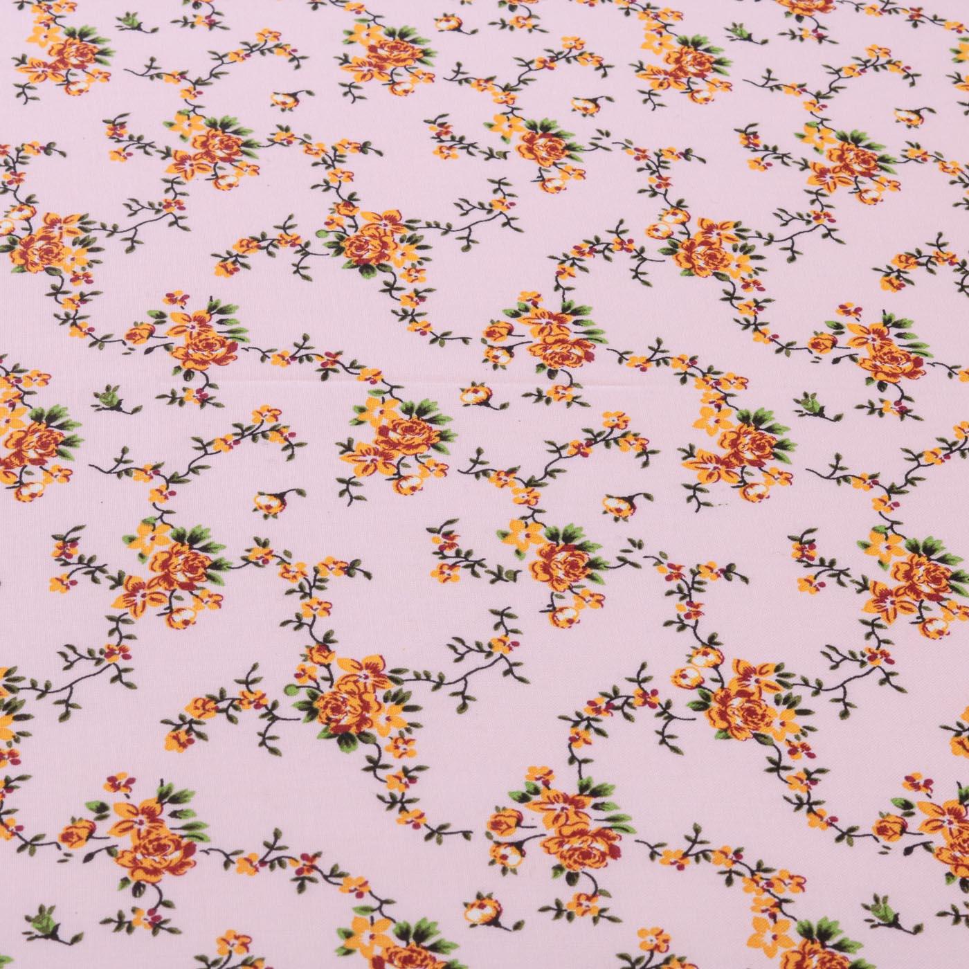 Tecido Viscose Estampado Flores 100% Viscose Rosa Bebê