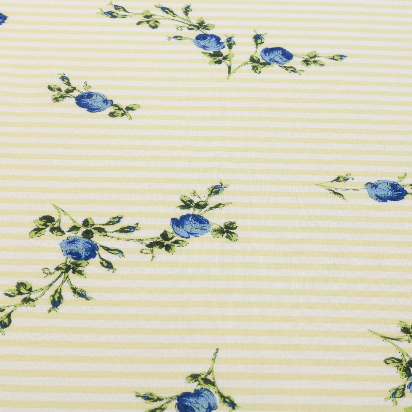 Tecido Viscose Estampado Listrado Floral 100% Viscose Amarelo Bebê