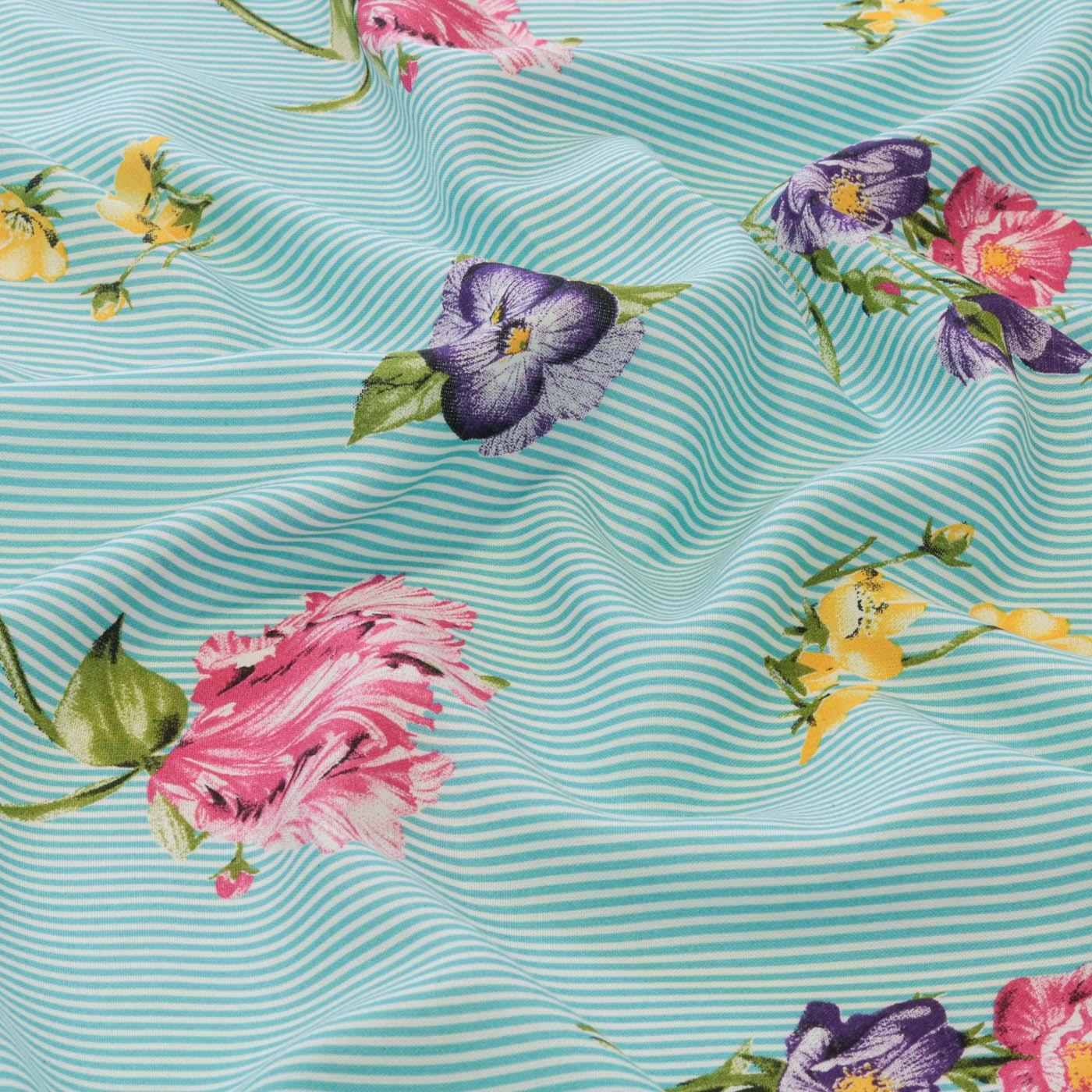 Tecido Viscose Estampado Listrado Floral 100% Viscose Azul Claro
