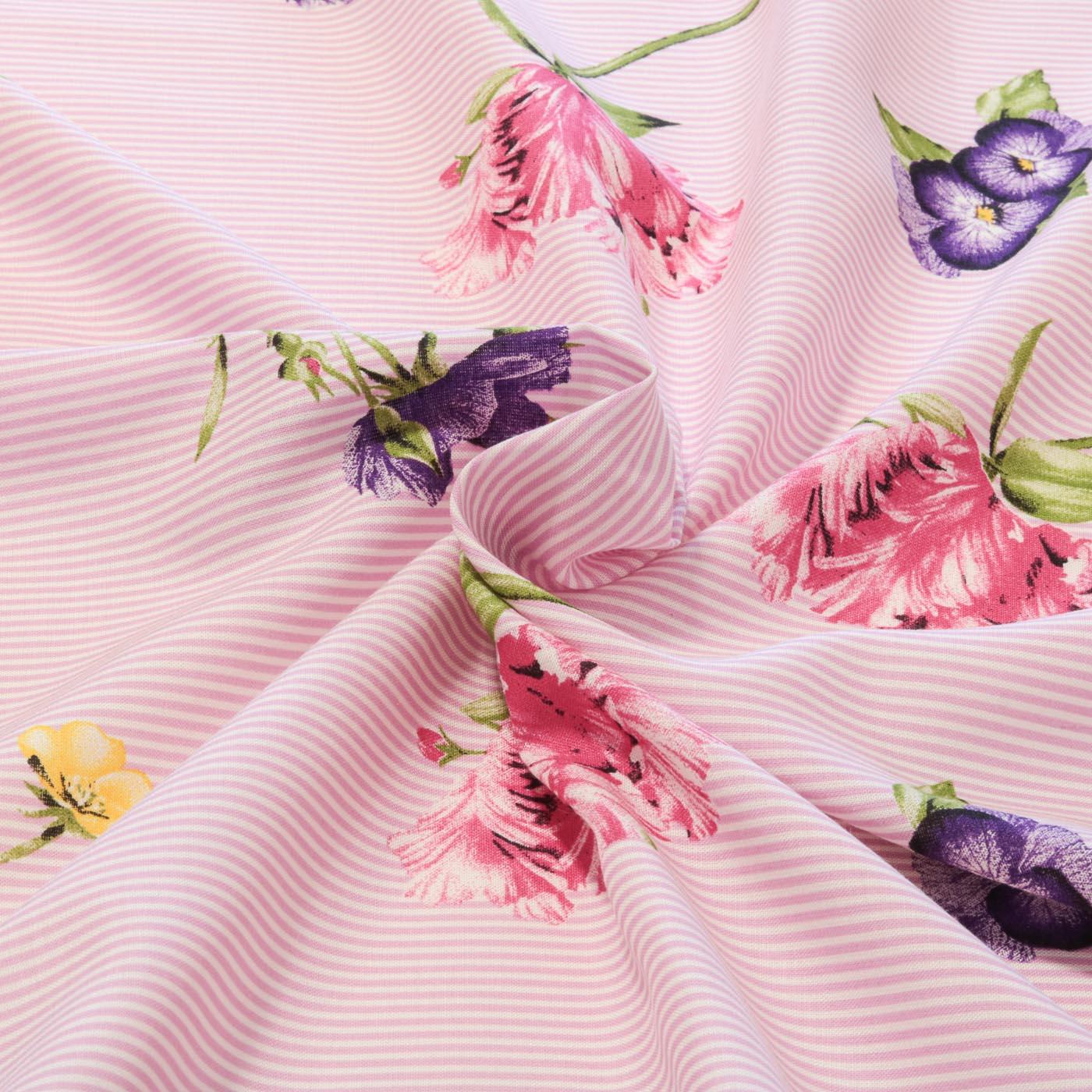 Tecido Viscose Estampado Listrado Floral 100% Viscose Lilas