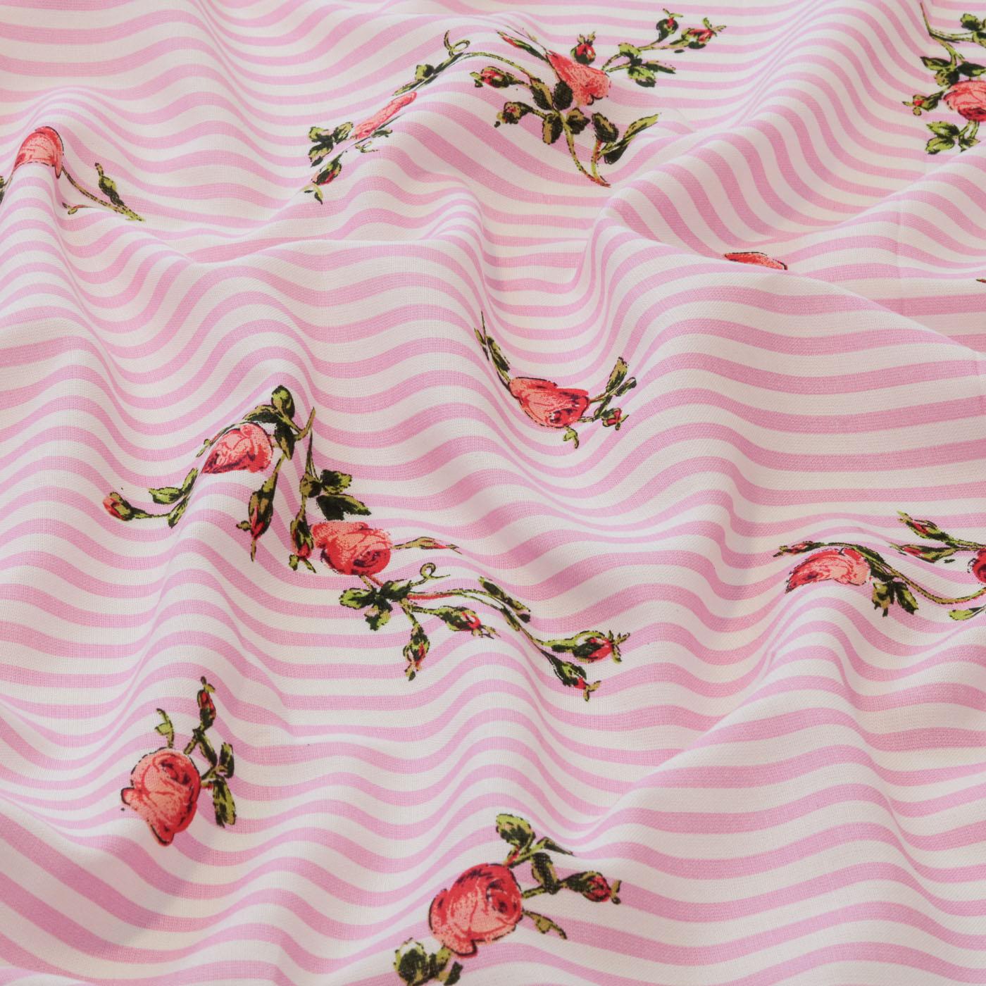 Tecido Viscose Estampado Listrado Flores 100% Viscose Rosa
