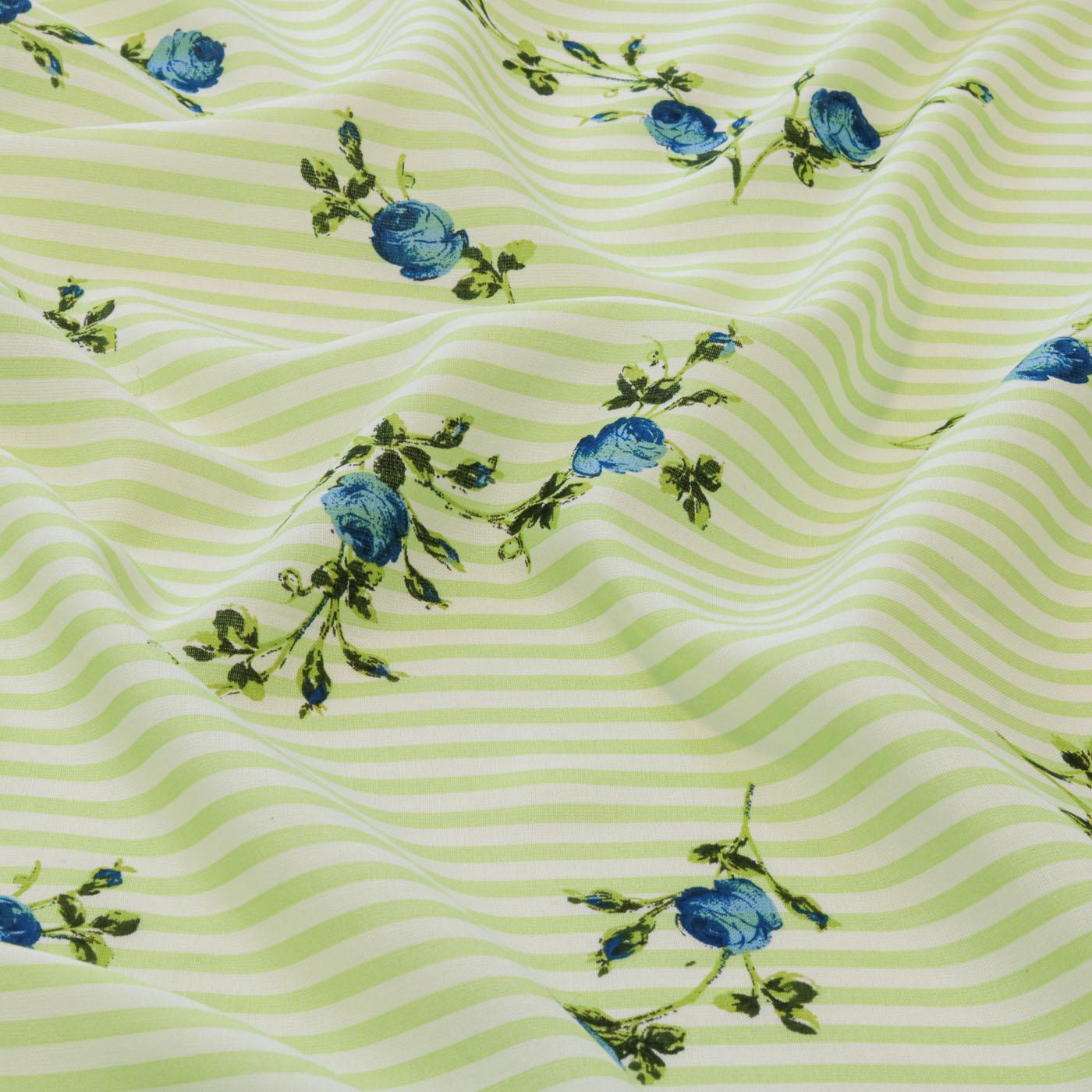 Tecido Viscose Estampado Listrado Flores 100% Viscose Verde Limão