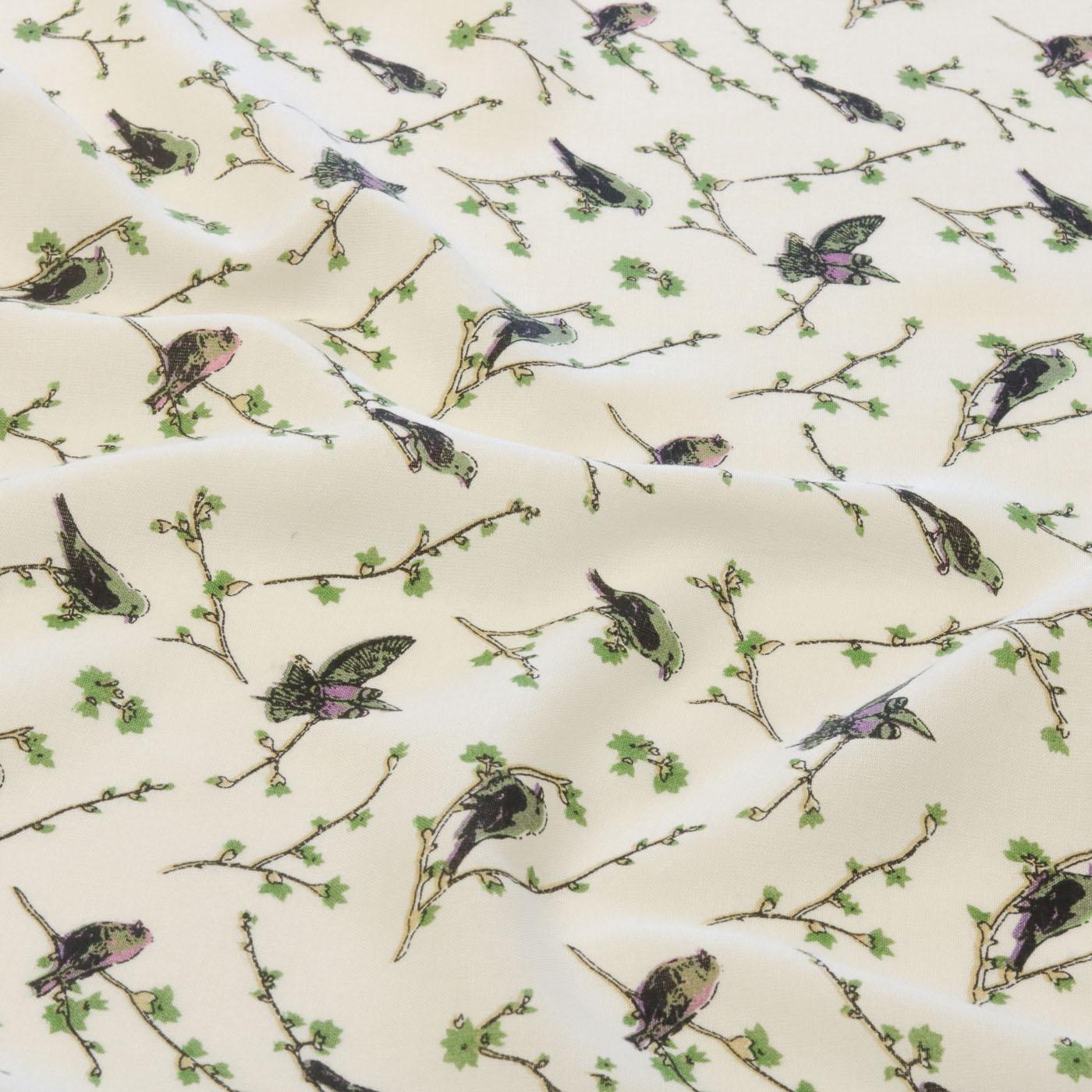 Tecido Viscose Estampado Pássaros 100% Viscose Creme
