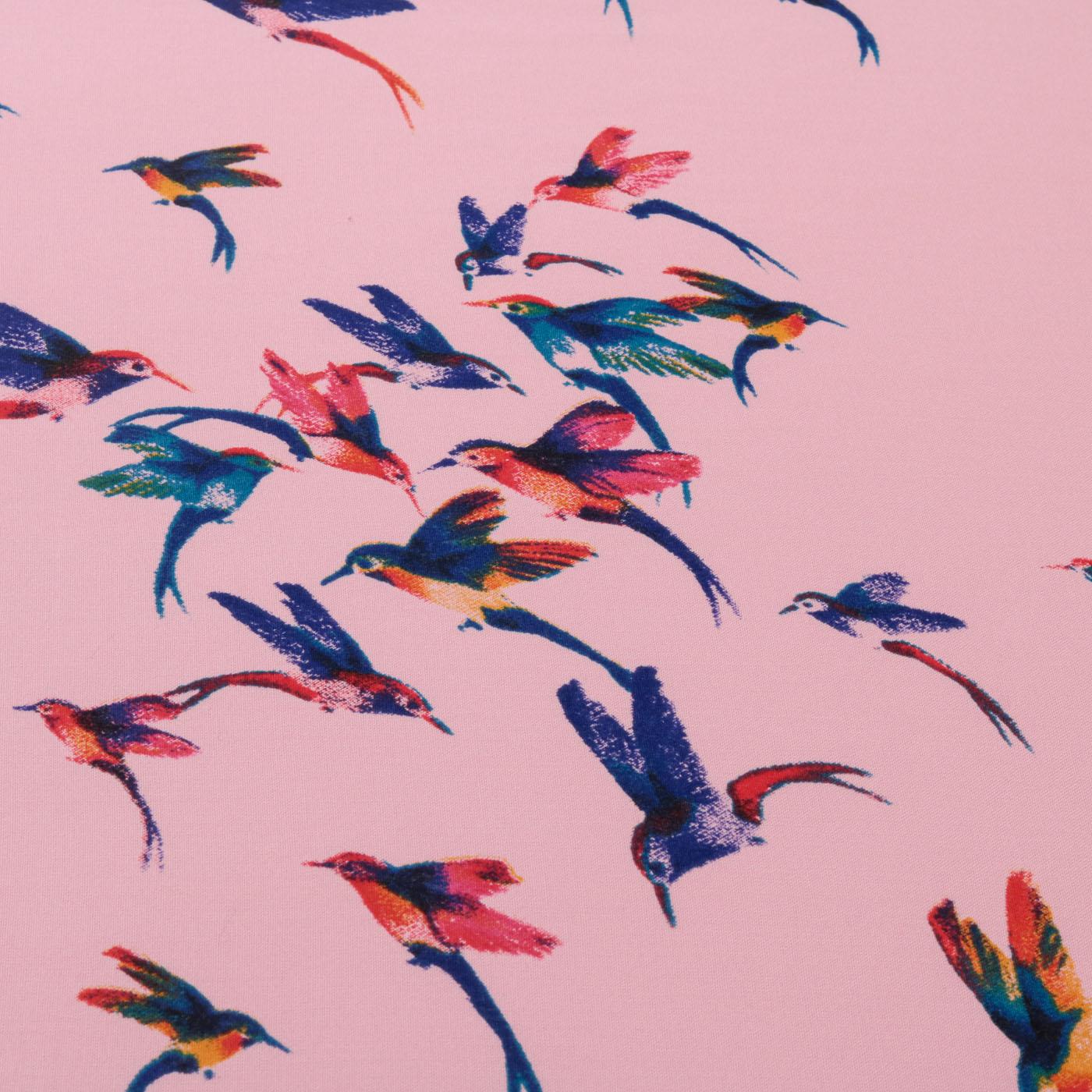 Tecido Viscose Estampado Pássaros 100% Viscose Rosa