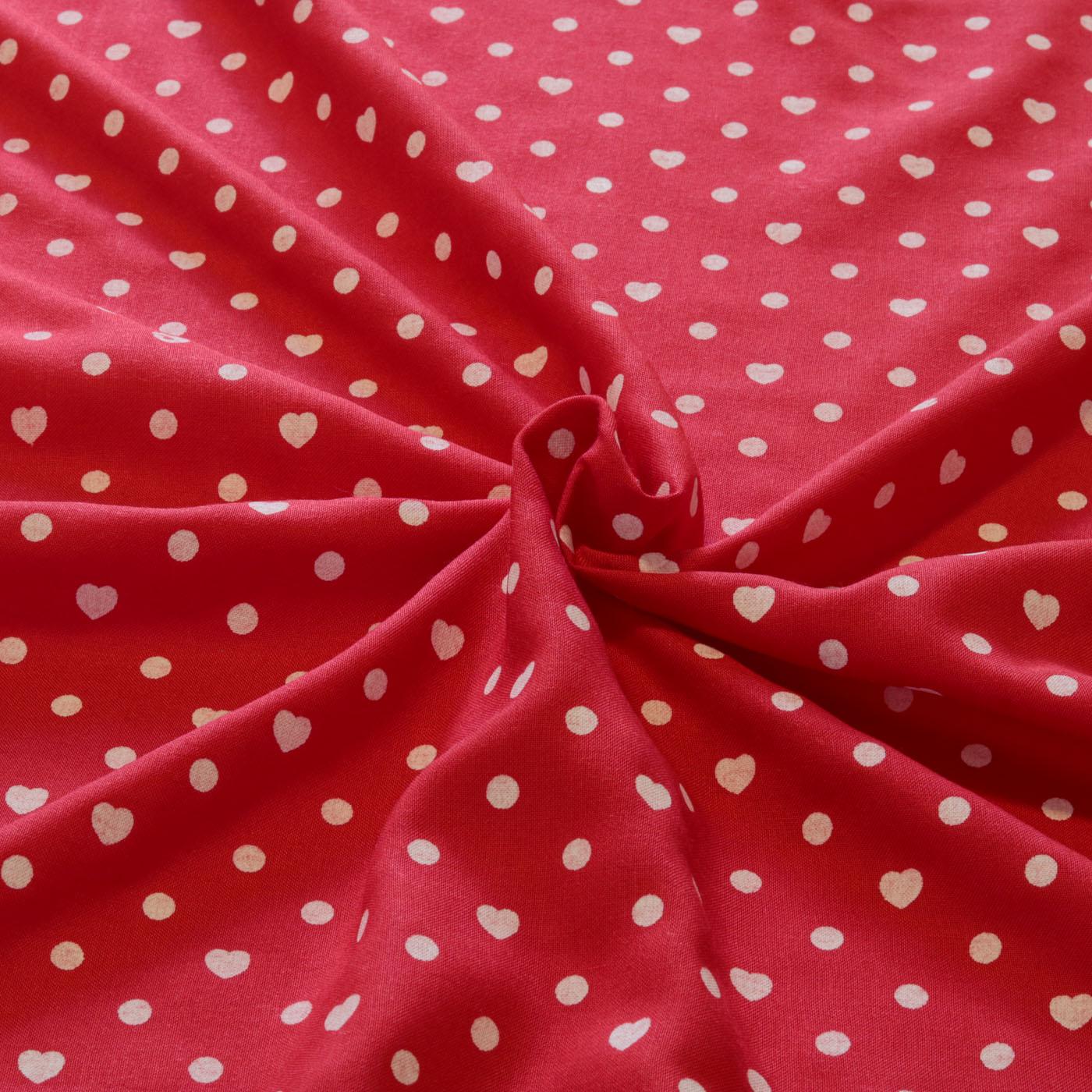 Tecido Viscose Estampado Poa Coração 1,45 m Largura Vermelho