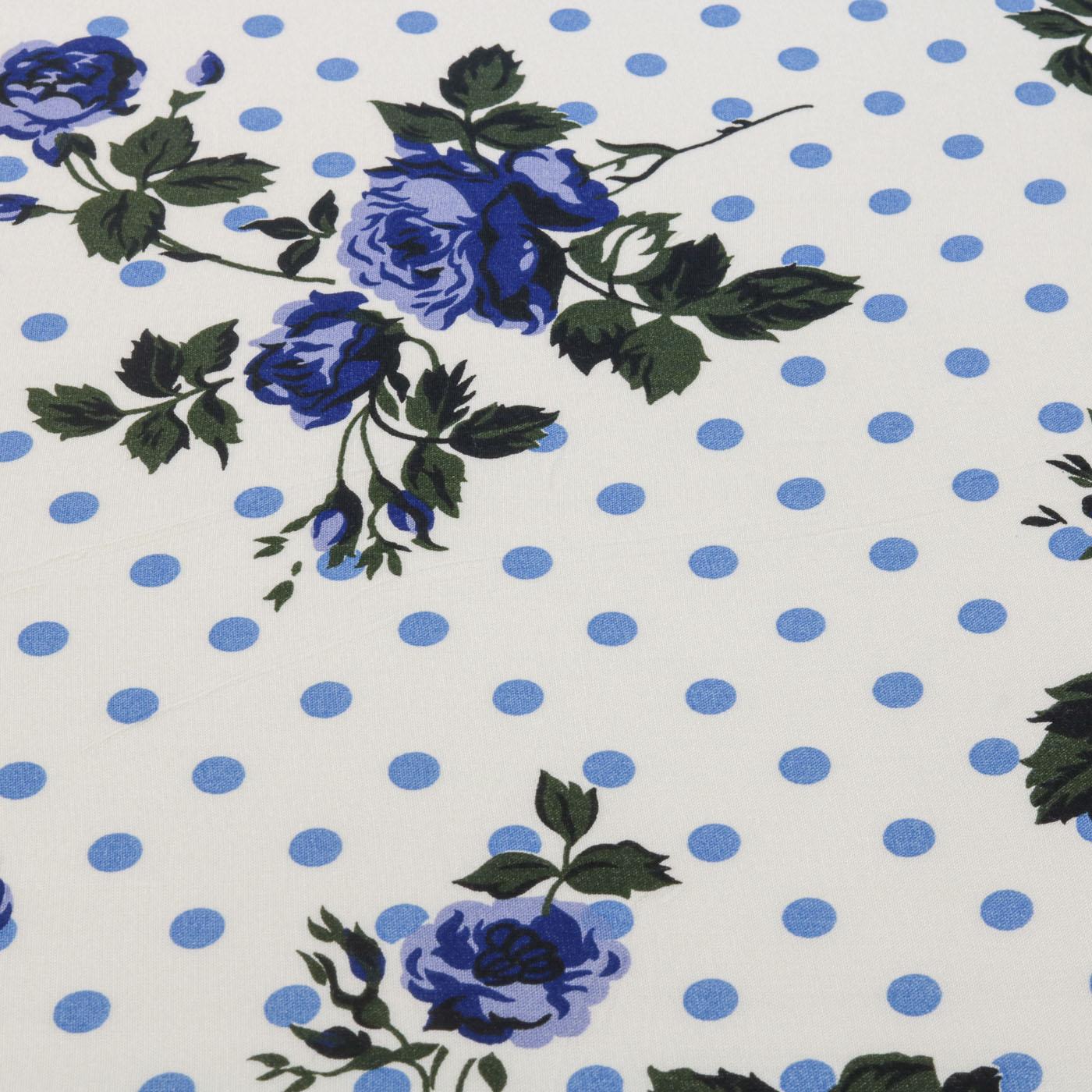Tecido Viscose Estampado Poa Floral 100% Viscose Azul Turquesa