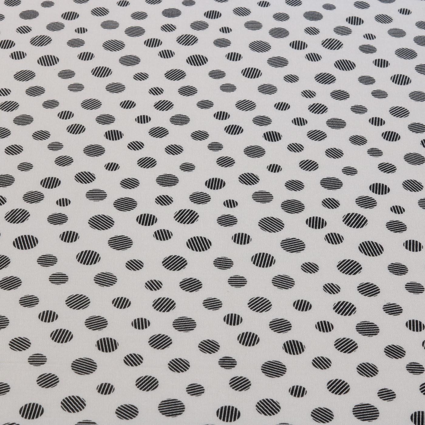 Tecido Viscose Estampado Poa Preto 100% Viscose Branco