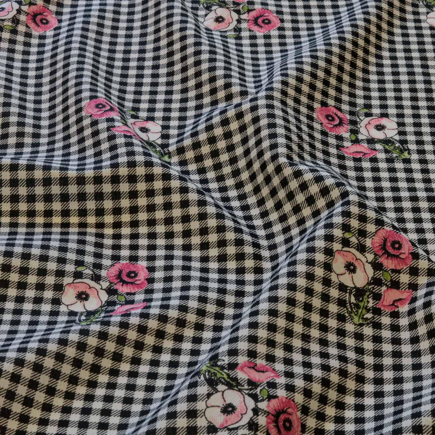 Tecido Viscose Estampado Xadrez Floral 100% Viscose Preto