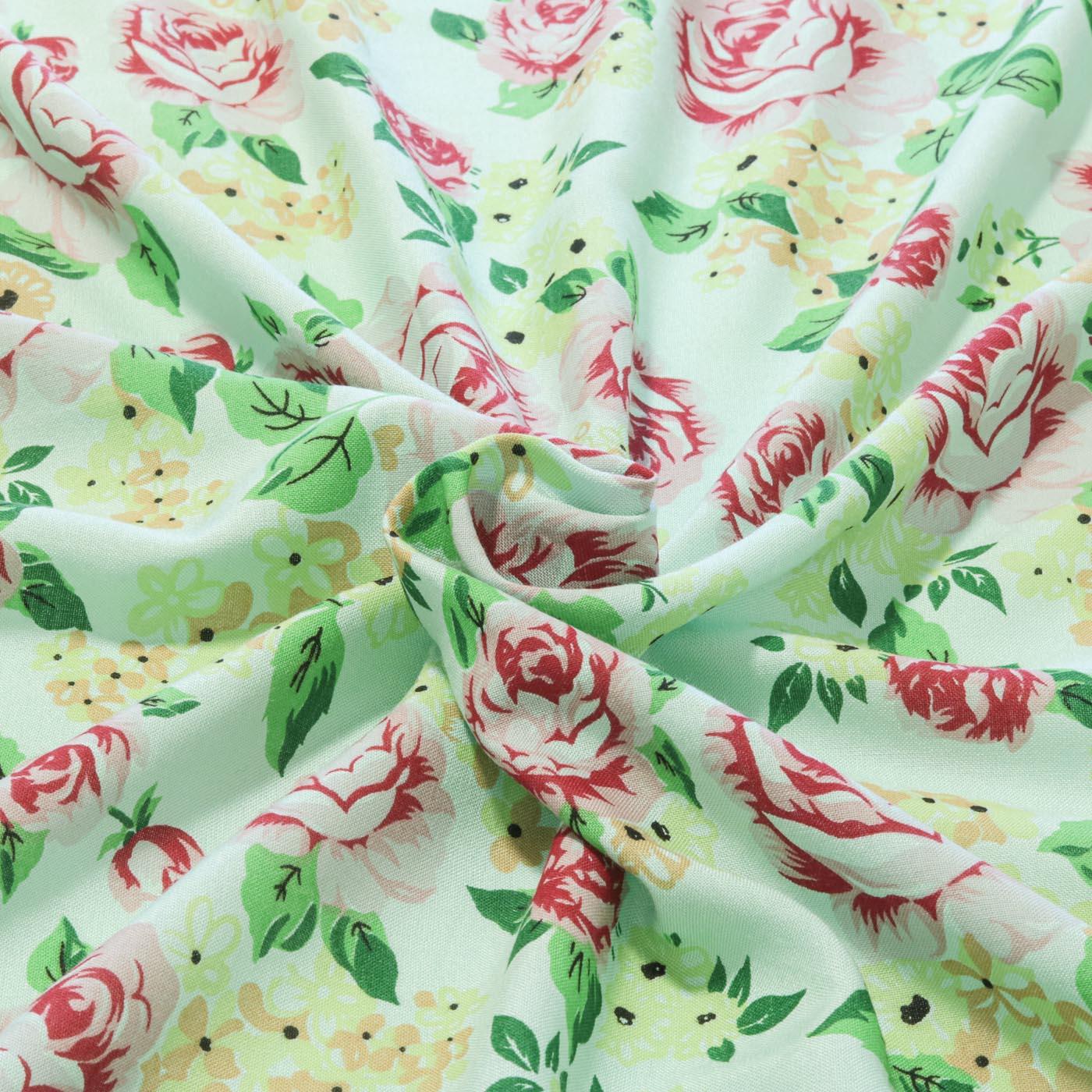 Tecido Viscose Flores 100% Viscose 1,50 m Largura Verde Água