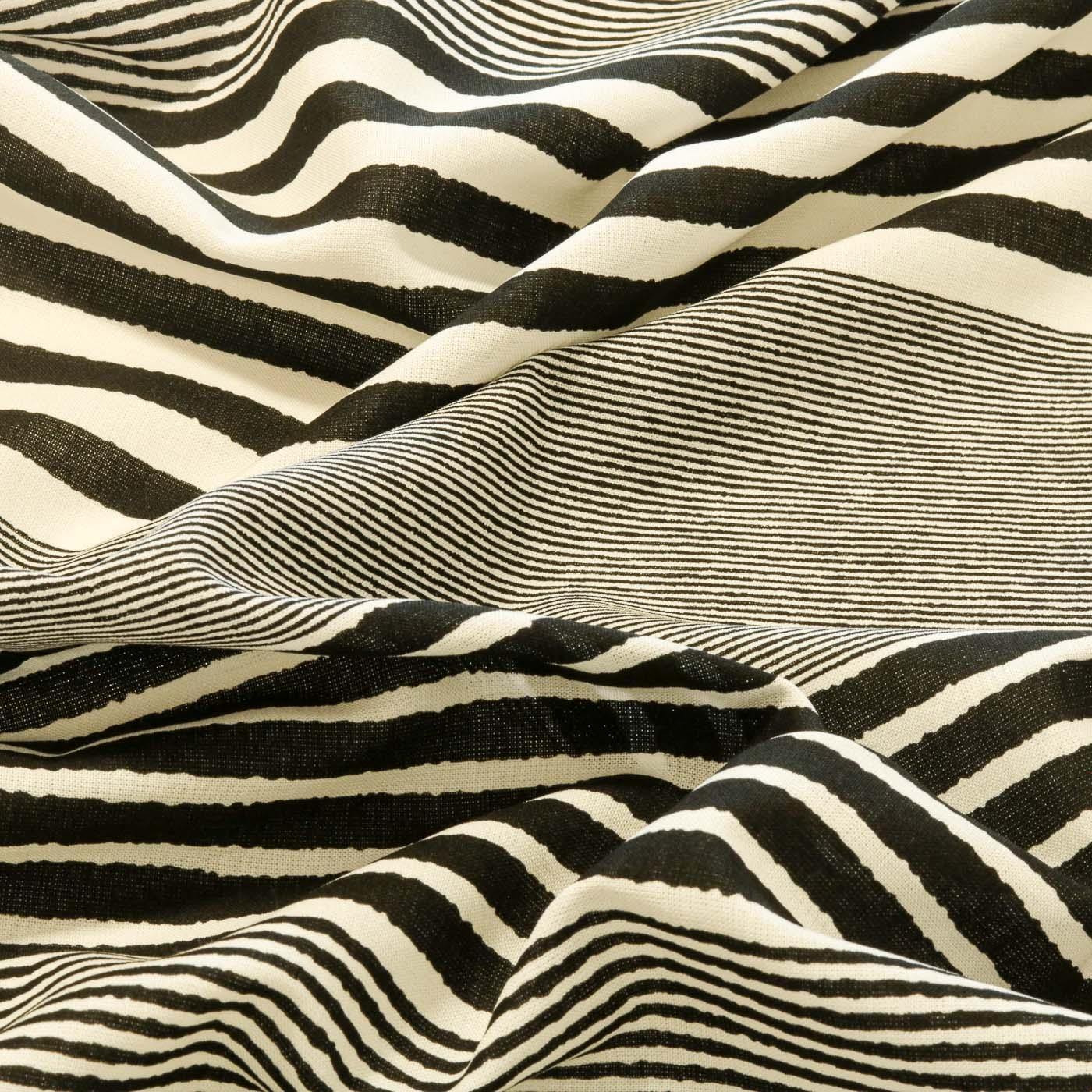 Tecido Viscose Listrado Estampado Listras Preto e Branco Off
