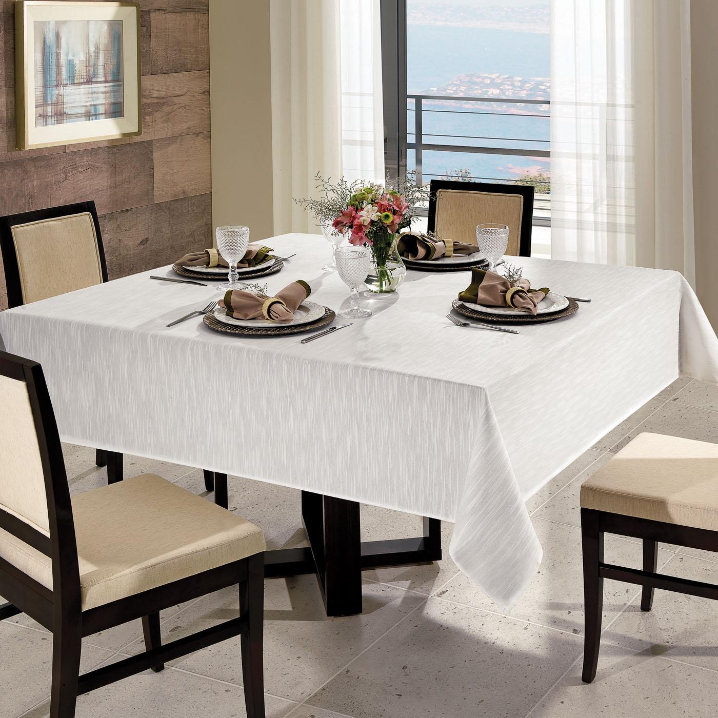 Toalha de Mesa Quadrada 4 Cadeiras Jacquard Requinte Dohler 1,60mx1,60m Branca