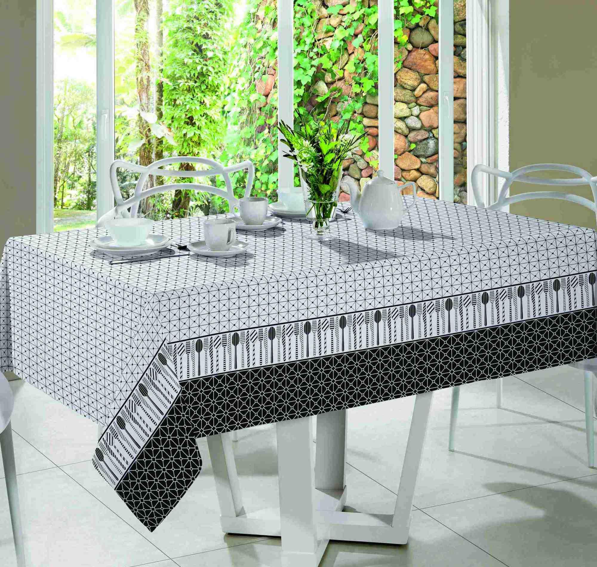 Toalha de mesa santista royal gourmet 1,40mt x 1,40mt preto/branco