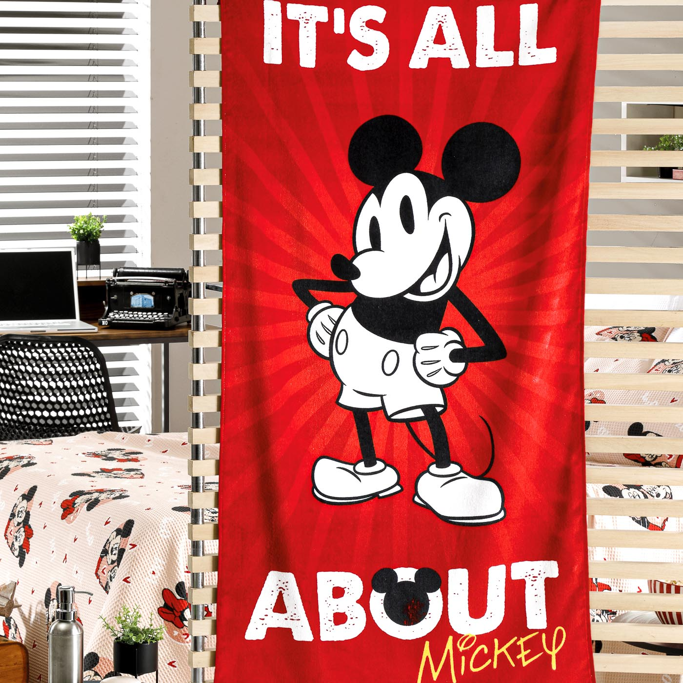 Toalha de Praia Estampada Felpuda Dohler 100% Algodão Mickey