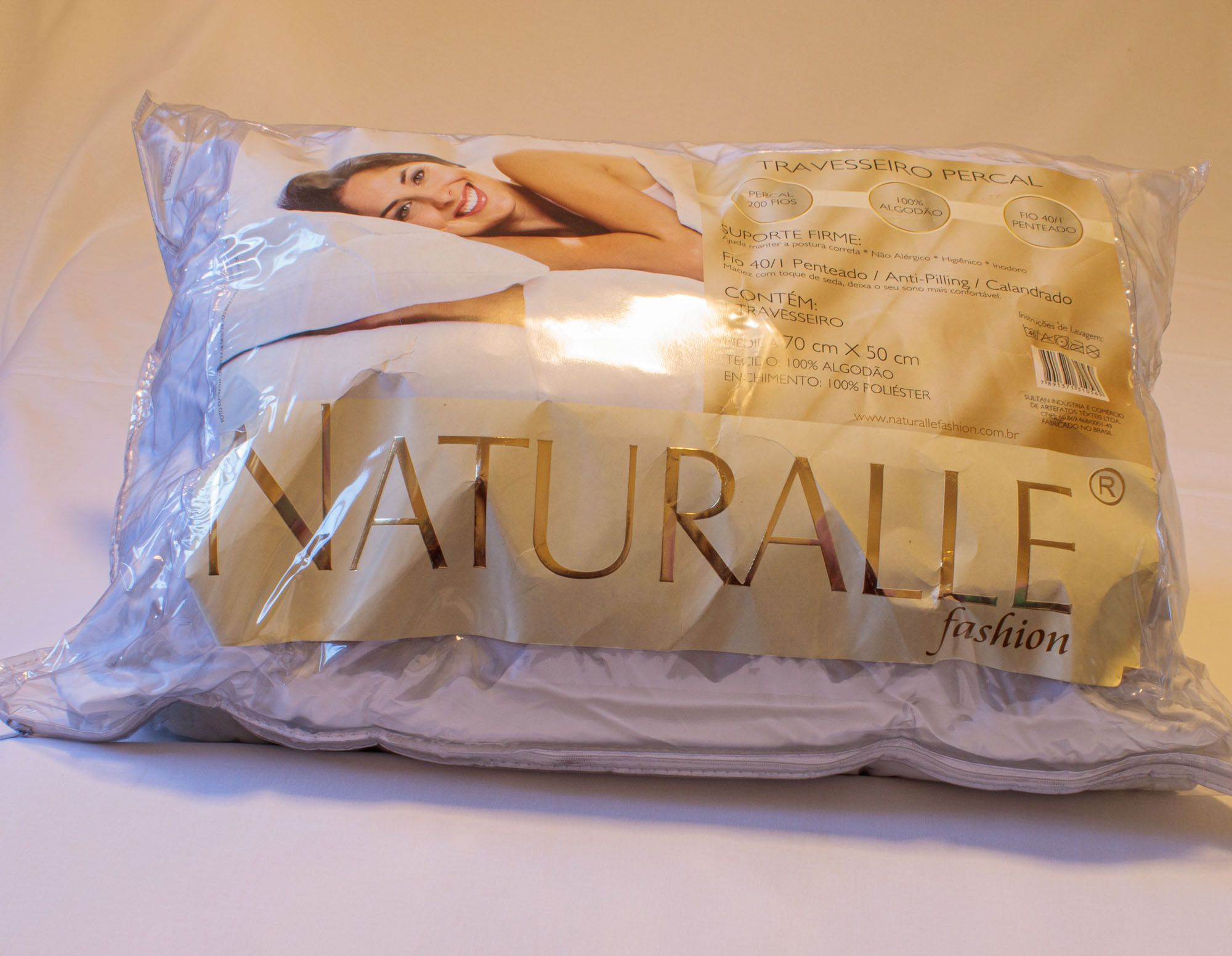 Travesseiro percal 200 fios sultan 100% algodão não alérgico inodoro higiênico calandrado 70 cm x 50 cm