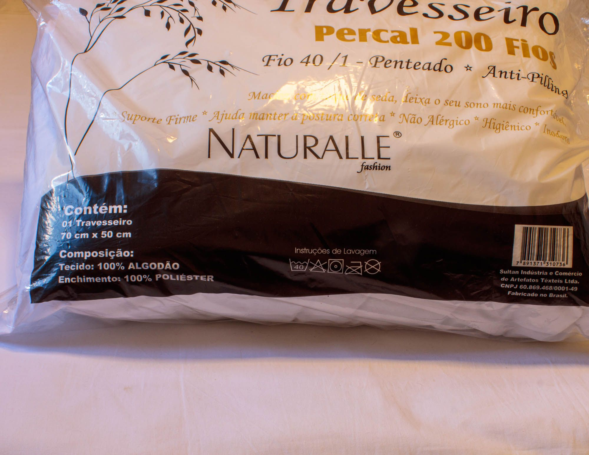 Travesseiro percal 200 fios sultan 100% algodão não alérgico inodoro higiênico naturalle fashion 70 cm x 50 cm