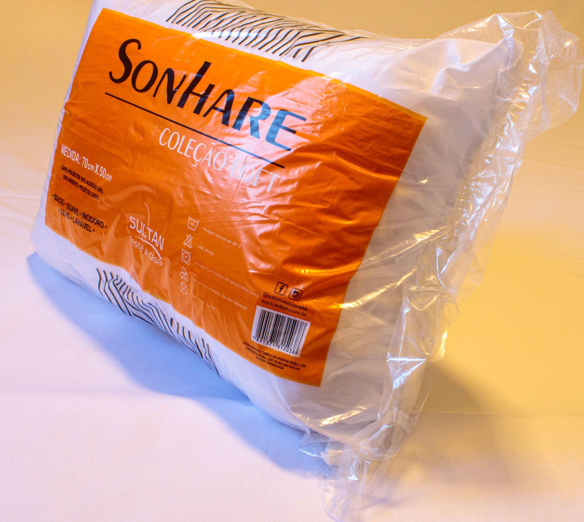 Travesseiro Sonhare Sultan 70x50cm Coleção Loft Macio Lavável Inodoro