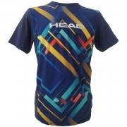 Camiseta Head Estampada Masc. - Azul