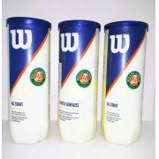 Pack 3 tubos Bola de Tênis Wilson Roland Garros