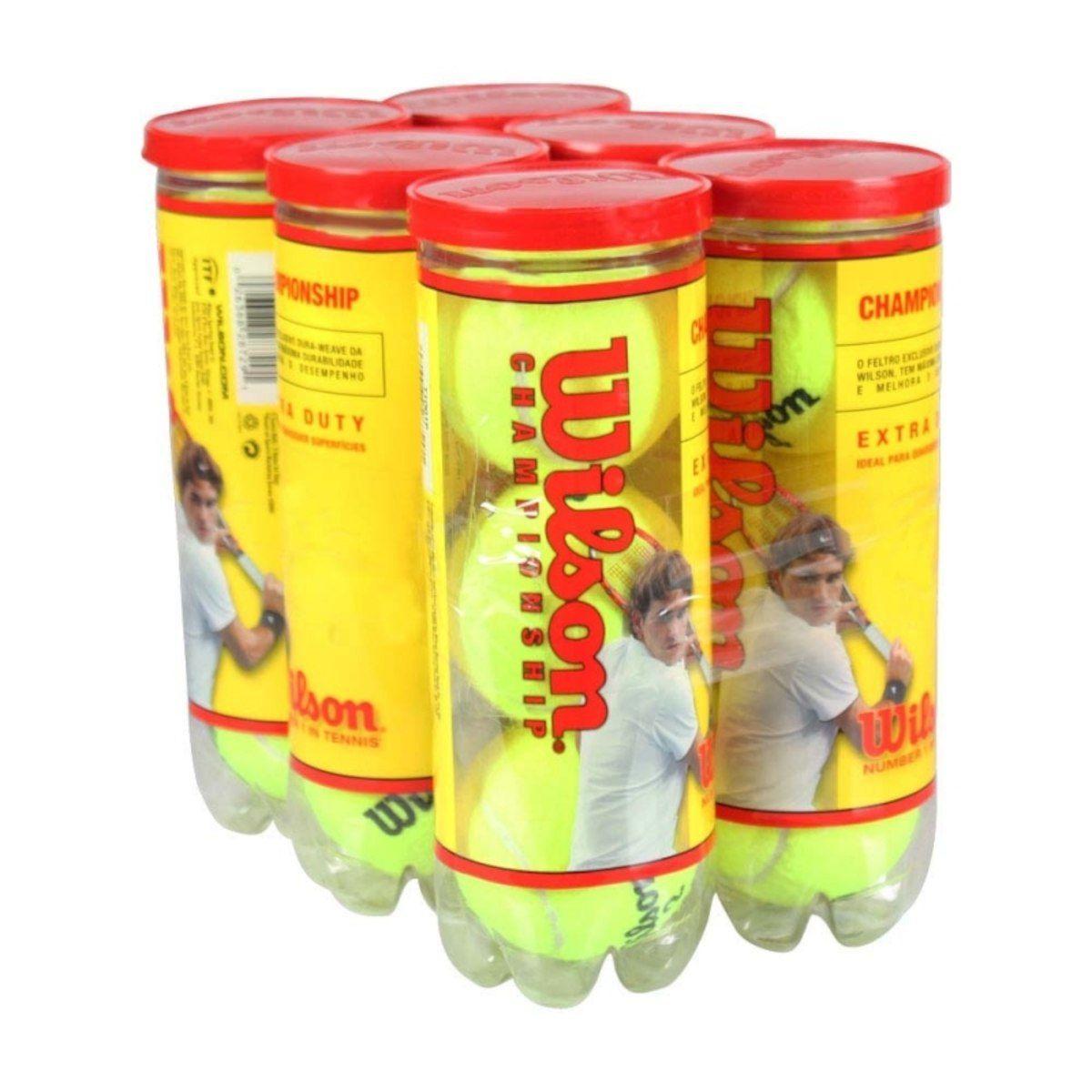 Bola de Tenis Wilson Championship - 6 tubos 18 Bolas.