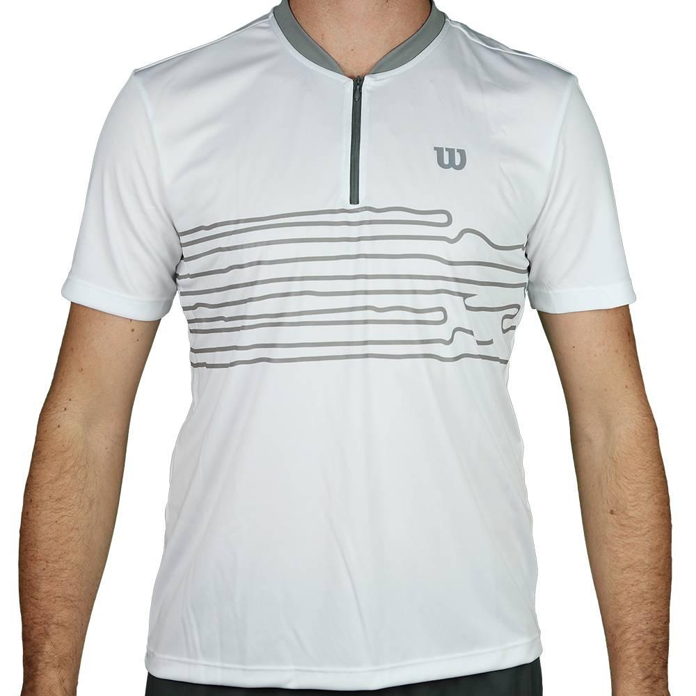 Camiseta Wilson 1/2 Zíper Performance - Branco/Cinza