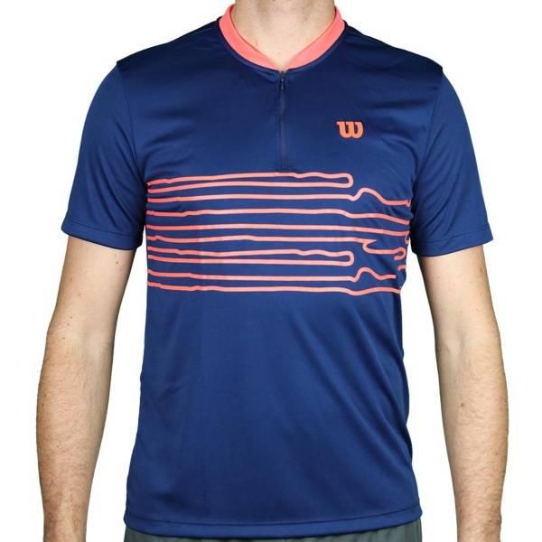 Camiseta Wilson 1/2 Zíper Performance - Azul/Rosa