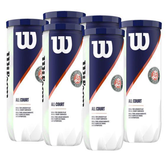 Pack com 6 tubos Bola Wilson Roland Garros