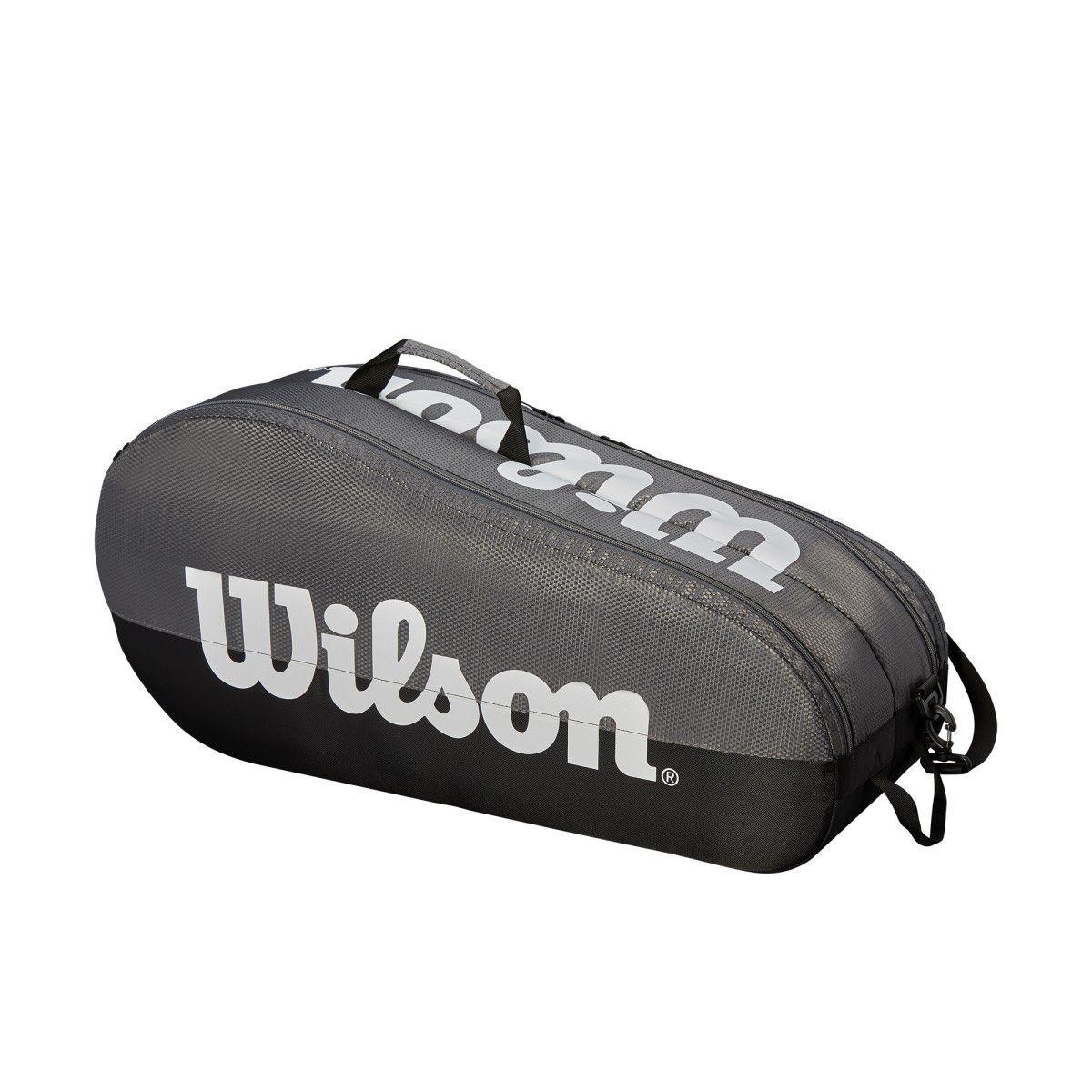 Raqueteira Wilson Team  2 Comp X6 Dupla Preta E Cinza (6 RAQUETES)