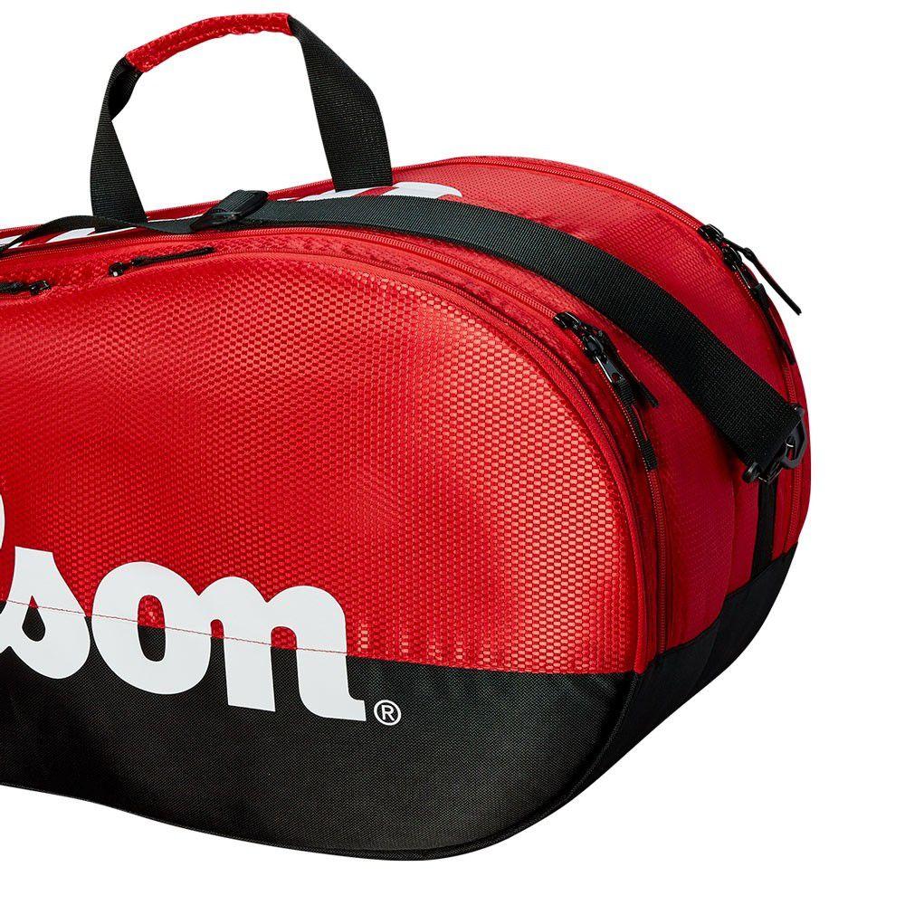 Raqueteira Wilson Team 2 Comp X6 - Preta/Vermelha