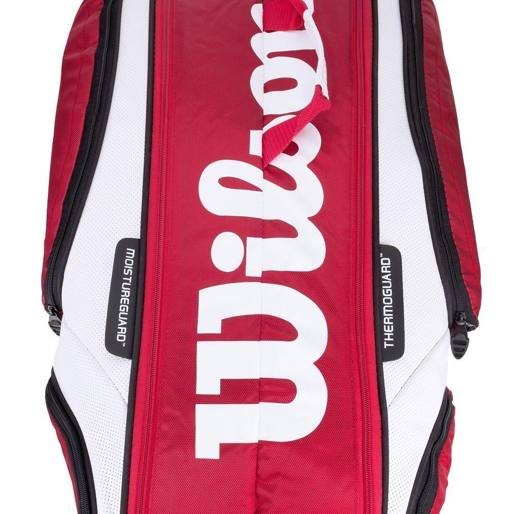 Raqueteira Wilson Tour 6 Pack Dupla Vermelha e Branca