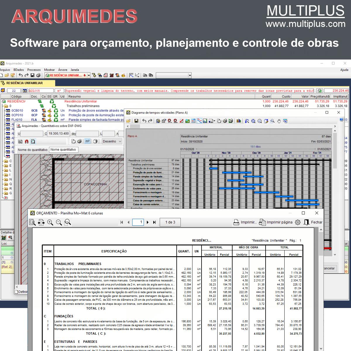 Software Arquimedes OR09 versão 2021 (Licença Eletrônica) incluindo Orçamento, Planejamento, Medição de Obras e Levantamento direto do CAD  - MULTIPLUS SOFTWARES