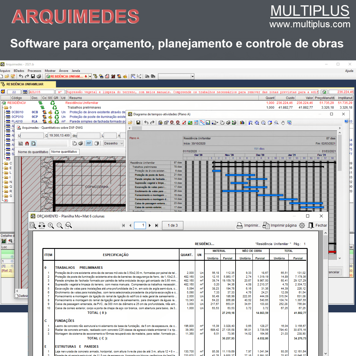 Software Arquimedes OR15 versão 2021 (Licença Eletrônica) incluindo Orçamento, Planejamento, Medição de Obras e Medição de Modelos REVIT  - MULTIPLUS SOFTWARES