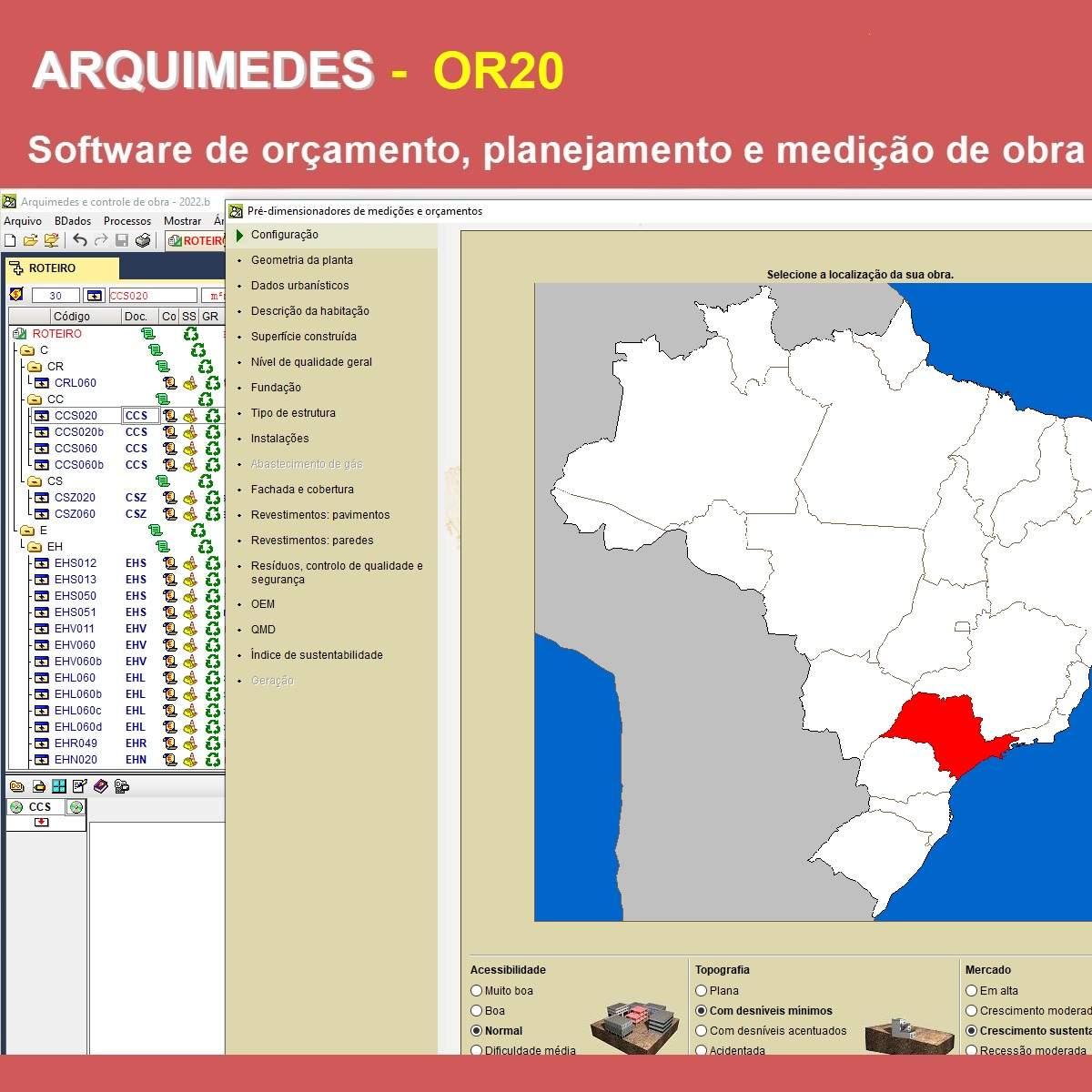 Software Arquimedes OR20 versão 2022 (Licença Eletrônica) incluindo Orçamento, Planejamento, Medição de Obras e  Conexão com o Gerador de preços OBRAS NOVAS  - MULTIPLUS SOFTWARES