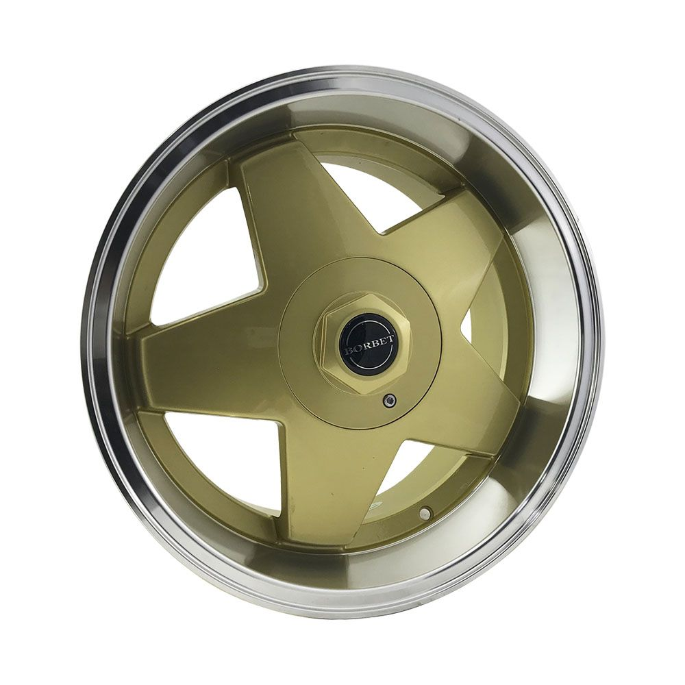 """Jogo 4 rodas Borbet Importado original aro 17"""" furação 4x100/5x100 acabamento dourado borda diamantada tala 7/8,5 ET 35"""
