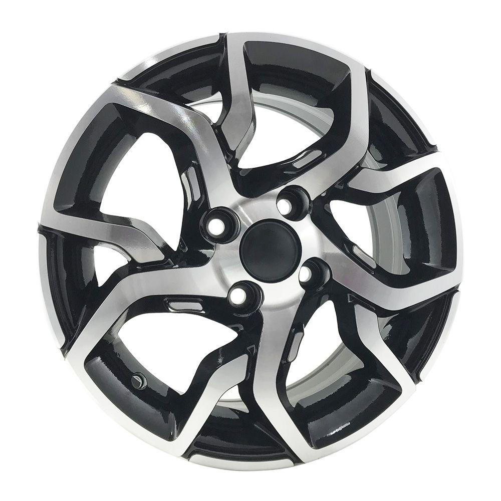 """Jogo 4 rodas BRW 1300 Fiat Argo aro 14"""" furação 4X98 acabamento preto e diamante tala 6"""
